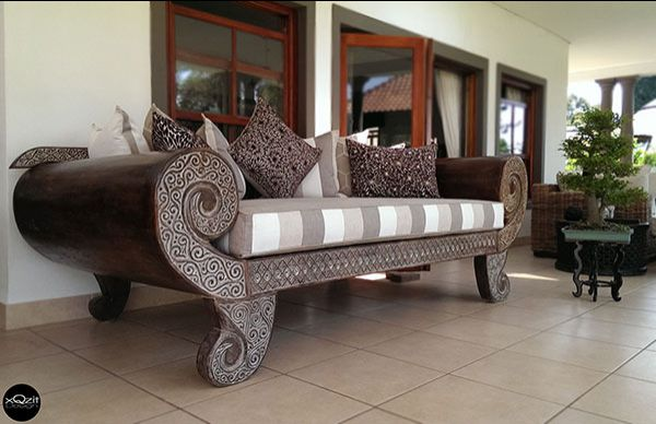 Indonesian Brown Day bed   Antique Styled With Backing   Including Full Set  Of Cushions. Indonesian Chairs
